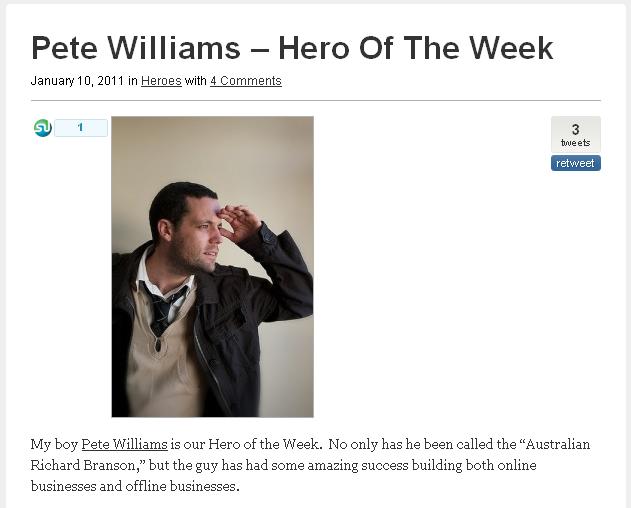 Pete is Hero of the Week